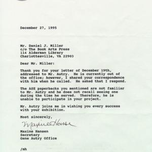 Maxine Hansen. Letter to DJM, 27 December 1995