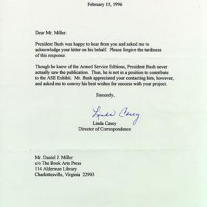 Linda Casey. Office of George Bush. Letter to DJM, 15 February 1996