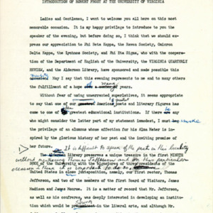 Introduction of Robert Frost, draft page 1
