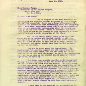 McConnell letters. June 14, 1919. Alderman to Eugenia Flagg, p.1