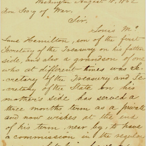 Angelica Church Archive. Abraham Lincoln. Aug. 18, 1862