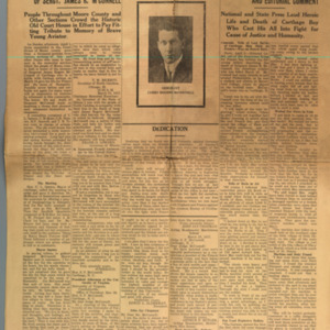 McConnell documents. Memorial issue of the Moore County News, McConnell's hometown newspaper, p.1