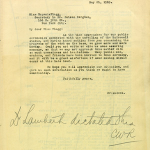 McConnell letters. May 21, 1919. Alderman to Eugenia Flagg