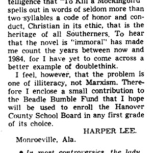 Lee Letter to the Editor