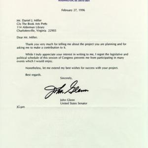 John Glenn. Letter to DJM, 27 February 1996