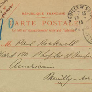 McConnell letters. April 21, 1915, Paris. Postcard