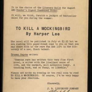 To Kill A Mockingbird - Advance copy, 1960.