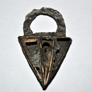 Triangular Iron Padlock with Brass Trim Around Escutcheon Plate