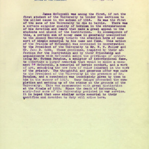 McConnell documents. Press release from the University, June 23, 1919