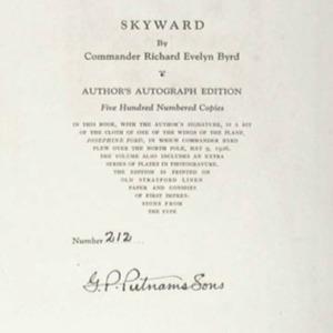 Richard E. Byrd. Skyward.