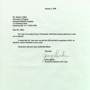 Ginny Durkin, Executive Asst. to Norman Lear. Letter to DJM, 3 January 1996