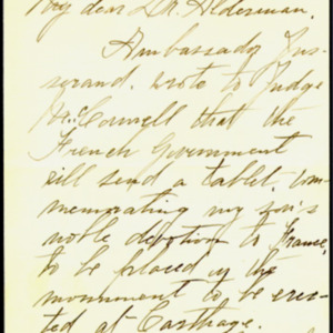McConnell letters. October 15, 1917. Sarah McConnell to Alderman, p.1