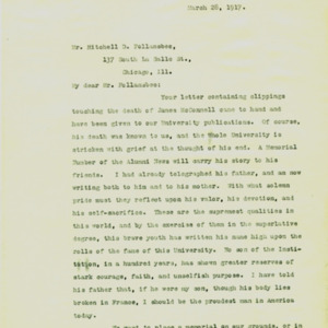 McConnell letters. March 28, 1917. Alderman to Follansbee, p.1