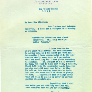 McConnell letters. May 22, 1919. Eugenia Flagg to Alderman