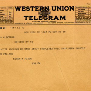 McConnell letters. May 22, 1919. Telegram. Eugenia Flagg to Alderman
