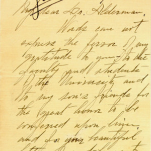 McConnell letters. April 2, 1917. Sarah McConnell to Alderman, p.1