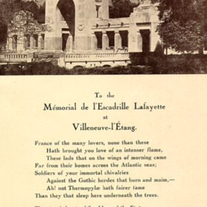 McConnell photographs. The Lafayette Escadrille Memorial&lt;br /&gt;<br /> Villeneuve Park, St. Cloud (side)