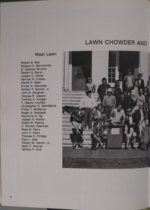 Photograph of the &quot;Lawn Chowder and Marching Society&quot; (Lawn residents). In Corks and Curls. 1973.<br /><br />