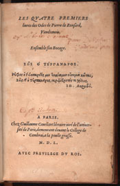 Ronsard. Odes (1550)