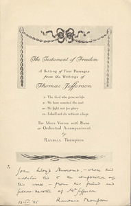 The Testament of Freedom: A Setting of Four Passages from the Writings of Thomas Jefferson.
