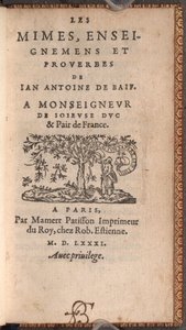 Jean Antoine de Baïf. Les mimes
