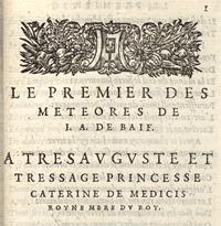 Jean Antoine de Baïf. Le Premier des météores