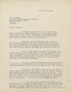 Typed letter, signed, from Eugene O'Neill to E. J. Halter