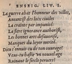 Jean Antoine de Baïf. Les mimes. Liv. I, p.20