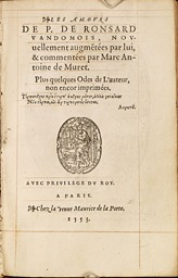Ronsard. Les Amours (1553)