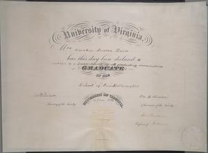 University of Virginia Pass Certificate awarded to Caroline Preston Davis. 14 June 1893.