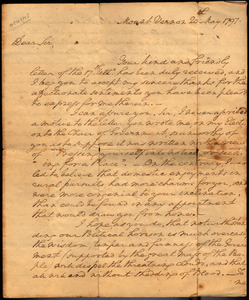 Washington, George. Autograph letter, signed, to General [William] Heath. 20 May 1797.