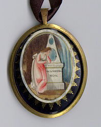 Locket with George and Martha Washington's hair, enamel cover