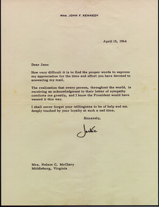 Jacqueline Kennedy Letter