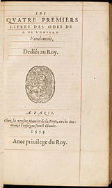 Ronsard. Odes (1555)