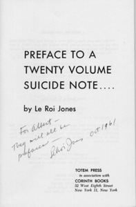 Preface to a Twenty Volume Suicide Note
