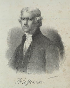 Lithograph of Thomas Jefferson by P. S. Duval after Gilbert Stuart.