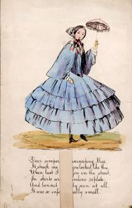 Greeting card with movable doll. Nineteenth century.<br /><br />