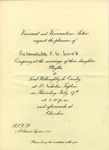 Invitation to Wedding of Lady Astor's Daughter