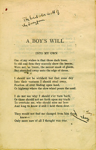 A Boy&amp;#039;s Will&lt;br /&gt;<br /> London, 1913