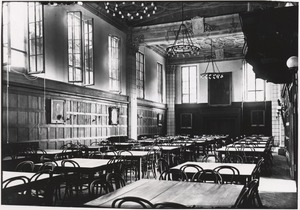"The interior of Garrett Hall, when it was known as ""The Commons"""