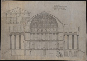 Longitudinal section of the proposed Rotunda restoration