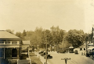 "The Senff Gates bordering ""The Corner,"" ca. 1920s"