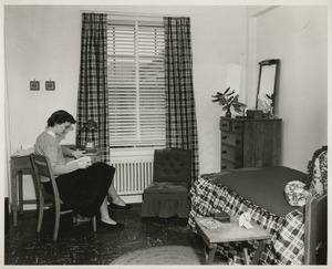 A student in a Mary Munford dormitory room, ca. 1952