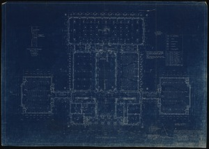 Blueprint of first floor plan of Clark Hall